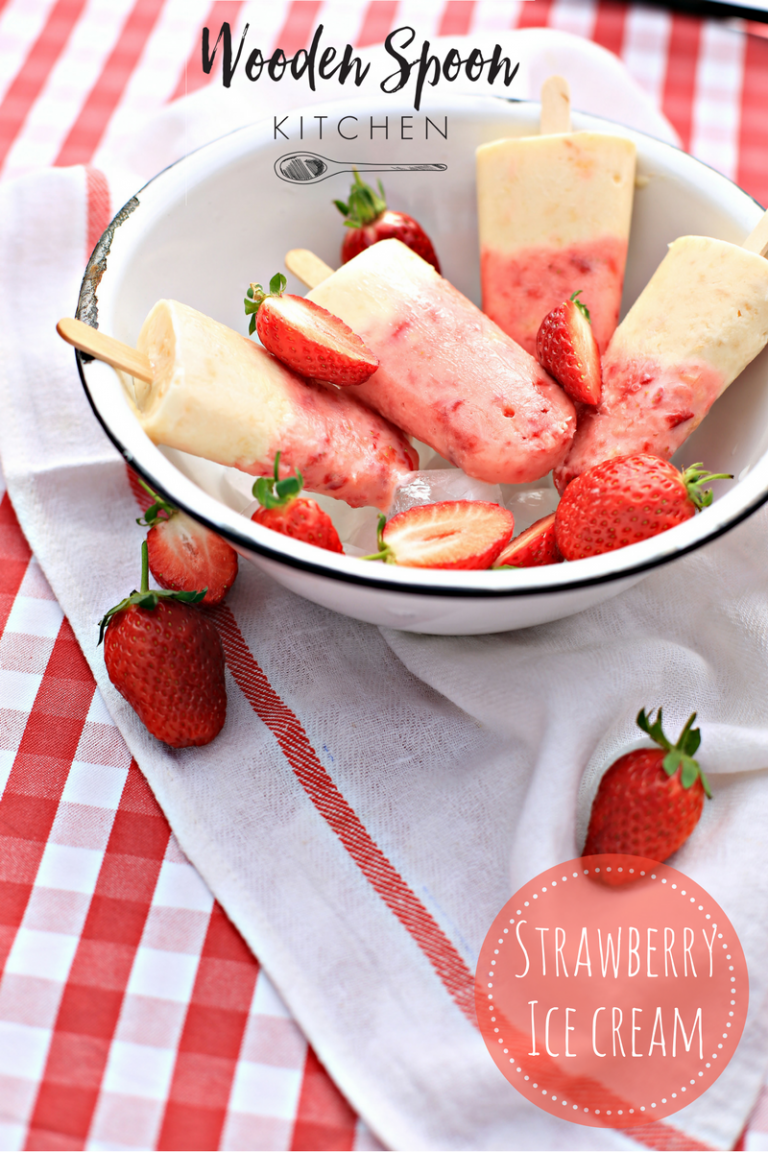 Super easy strawberry ice cream lollies