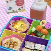 More lunchbox inspiration; banana wraps, hummus and biltong, zucchini mini quiches