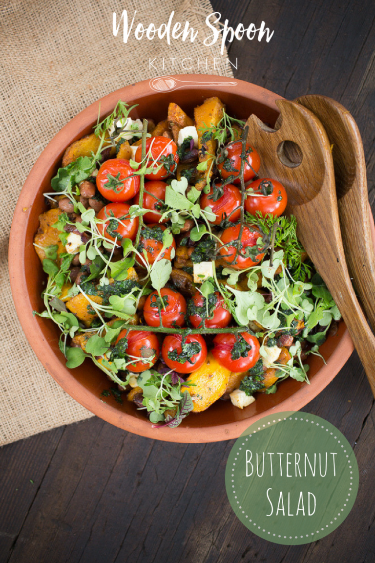 Warm butternut salad