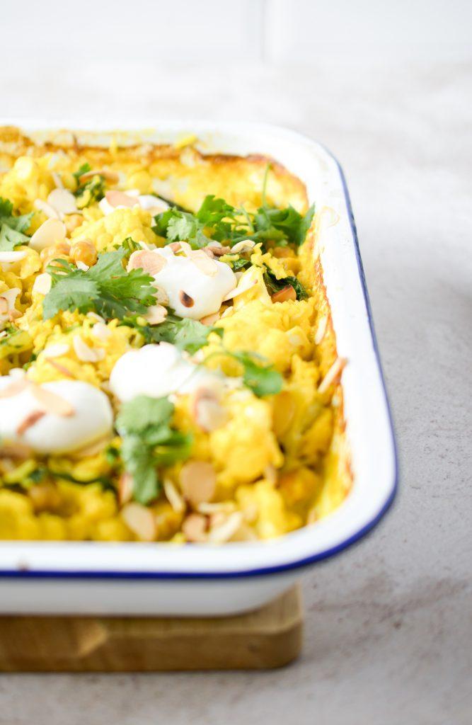 One Tray Cauliflower & Chickpea Curry